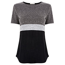 Buy Oasis Tweed Patched T-Shirt, Black Online at johnlewis.com