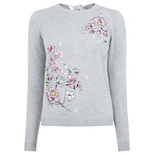 Buy Oasis Embroidered Lotus Knit, Mid Grey Online at johnlewis.com