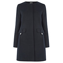 Buy Oasis Collarless Coat, Navy Online at johnlewis.com