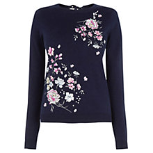 Buy Oasis Lotus Knit Jumper, Navy Online at johnlewis.com