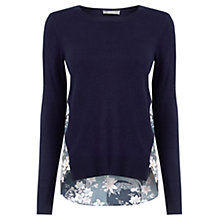 Buy Oasis Lotus Knot Back Printed Knit Jumper, Navy Online at johnlewis.com