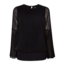 Buy Coast Elisa Pleated Sleeve Calla Top, Black Online at johnlewis.com