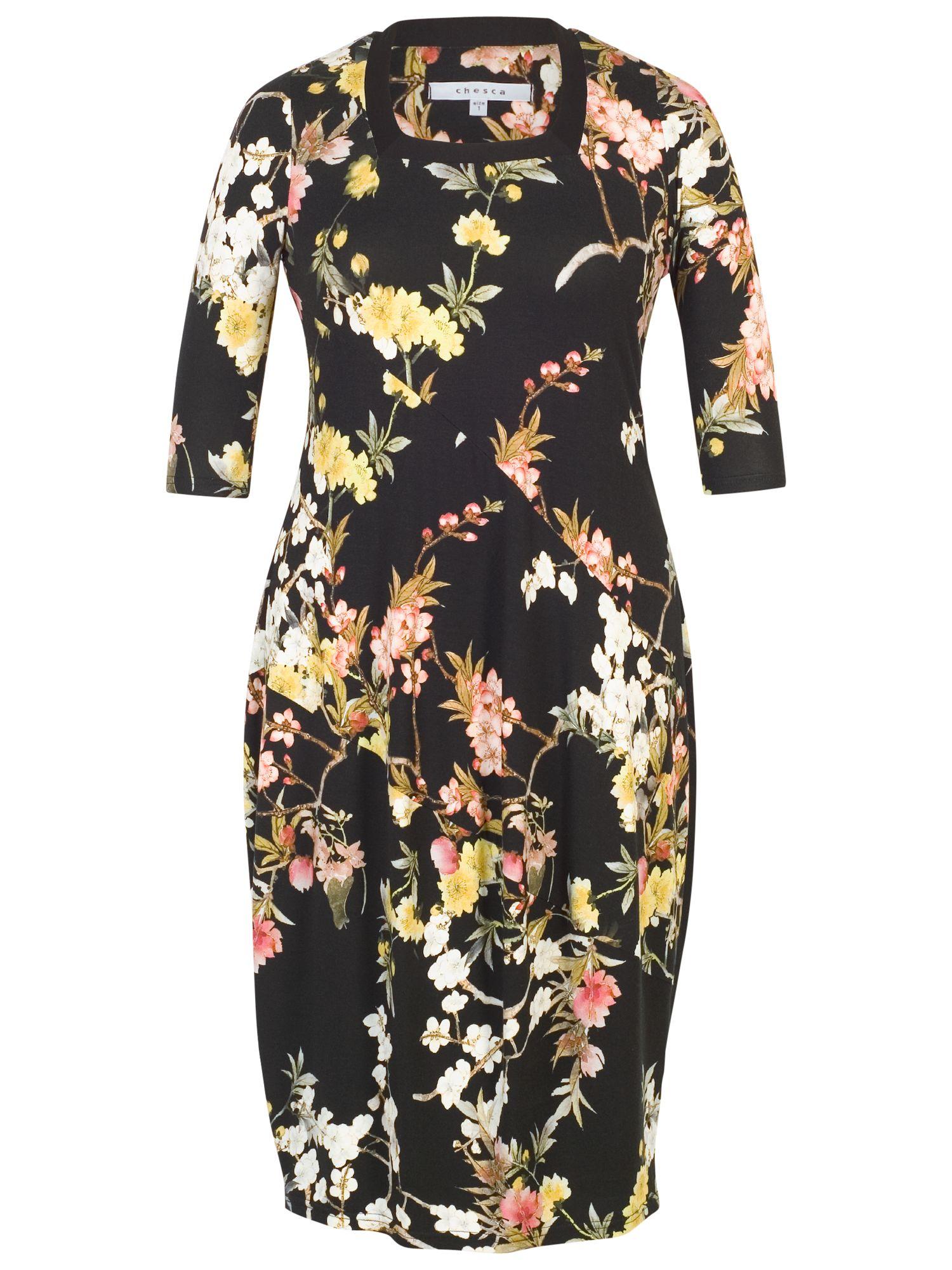 Chesca Chesca Oriental Floral Dress, Black