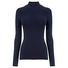 Buy Oasis Rib Turtle Jersey Top, Navy Online at johnlewis.com
