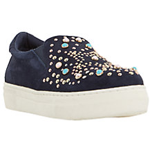 Buy Dune Elha Embellished Slip On Flatform Trainers, Blue Suede Online at johnlewis.com