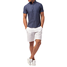 Buy Tommy Hilfiger Cotton Chambray Short Sleeve Shirt, Chambray/Dutch Navy Online at johnlewis.com