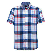 Buy Tommy Hilfiger Sid Short Sleeve Check Cotton Shirt, Apple Red/Classic White/Multi Online at johnlewis.com