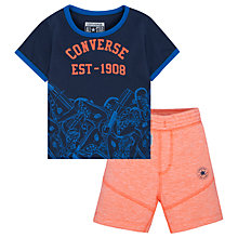 Buy Converse Baby Sneaker Toss T-Shirt and Shorts Set, Navy/Orange Online at johnlewis.com
