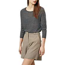 Buy Selected Femme Mind Stripe Linen Top, Black/Snow White Online at johnlewis.com