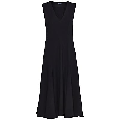 French Connection Whisper Ruth V Neck Flared Dress, Black