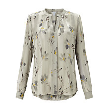 Buy Jigsaw Floating Aster Silk Blouse, Khaki Fog Online at johnlewis.com