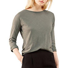Buy Jigsaw Cotton Slub Slouchy T-Shirt, Khaki Fog Online at johnlewis.com