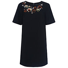 Buy French Connection Ernest 3D Floral Embellished Tunic Dress, Black Online at johnlewis.com