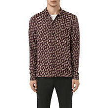 Buy AllSaints Serrate Long Sleeve Slim Shirt, Oxblood Online at johnlewis.com