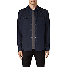 Buy AllSaints Airlie Slim Denim Shirt, Dark Indigo Blue Melange Online at johnlewis.com