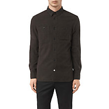 Buy AllSaints Laredo Asymmetric Slim Shirt, Chocolate Online at johnlewis.com