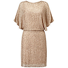 Buy Miss Selfridge Angel Sleeve Dress, Gold Online at johnlewis.com