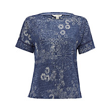 Buy White Stuff Horizon View Linen T-Shirt, Ink Pot Blue Online at johnlewis.com