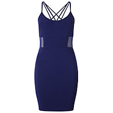 Buy Miss Selfridge Petite Mesh Panel Bodycon Dress, Blue Online at johnlewis.com