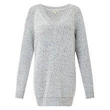 Buy Miss Selfridge V Neck Slouchy Jumper, Grey Online at johnlewis.com