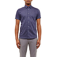 Buy Ted Baker Indee Geo Print Cotton Short Sleeve Shirt, Blue Online at johnlewis.com