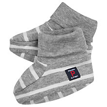 Buy Polarn O. Pyret Baby Striped Booties, Grey Online at johnlewis.com