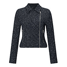 Buy Miss Selfridge Textured Biker Jacket, Blue Online at johnlewis.com