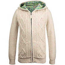 Buy Fat Face Girls' Cable Knit Cardigan, Oatmeal Online at johnlewis.com