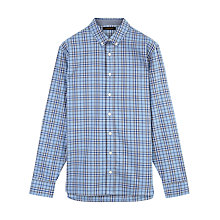 Buy Jaeger Overpane Check Relaxed Fit Shirt, Light Blue Online at johnlewis.com