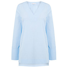 Buy Warehouse Dobby V Neck Tunic, Light Blue Online at johnlewis.com
