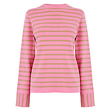 Buy Warehouse High Neck Jumper, Pink Stripe Online at johnlewis.com