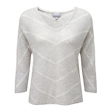 Buy Pure Collection Devonshire Ribbed Gassato Cashmere Jumper, Iced Grey/Soft White Online at johnlewis.com