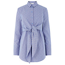 Buy Warehouse Tie Front Dobby Shirt, Blue Online at johnlewis.com