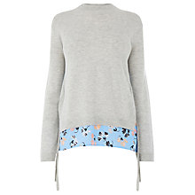 Buy Warehouse Dandy Flower Tie Side Jumper, Light Grey Online at johnlewis.com