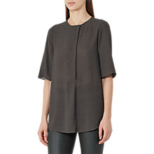 Buy Reiss Carine Collarless Blouse, Juniper Online at johnlewis.com