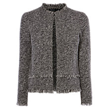 Buy Karen Millen Fringed Tweed Cardigan, Black/White Online at johnlewis.com