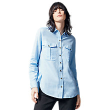 Buy Warehouse Relaxed Pocket Detail Shirt, Light Blue Online at johnlewis.com