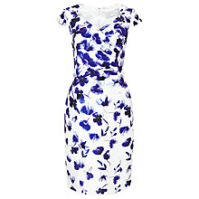 Buy Jacques Vert Shantung Border Print Dress, Mid Blue Online at johnlewis.com