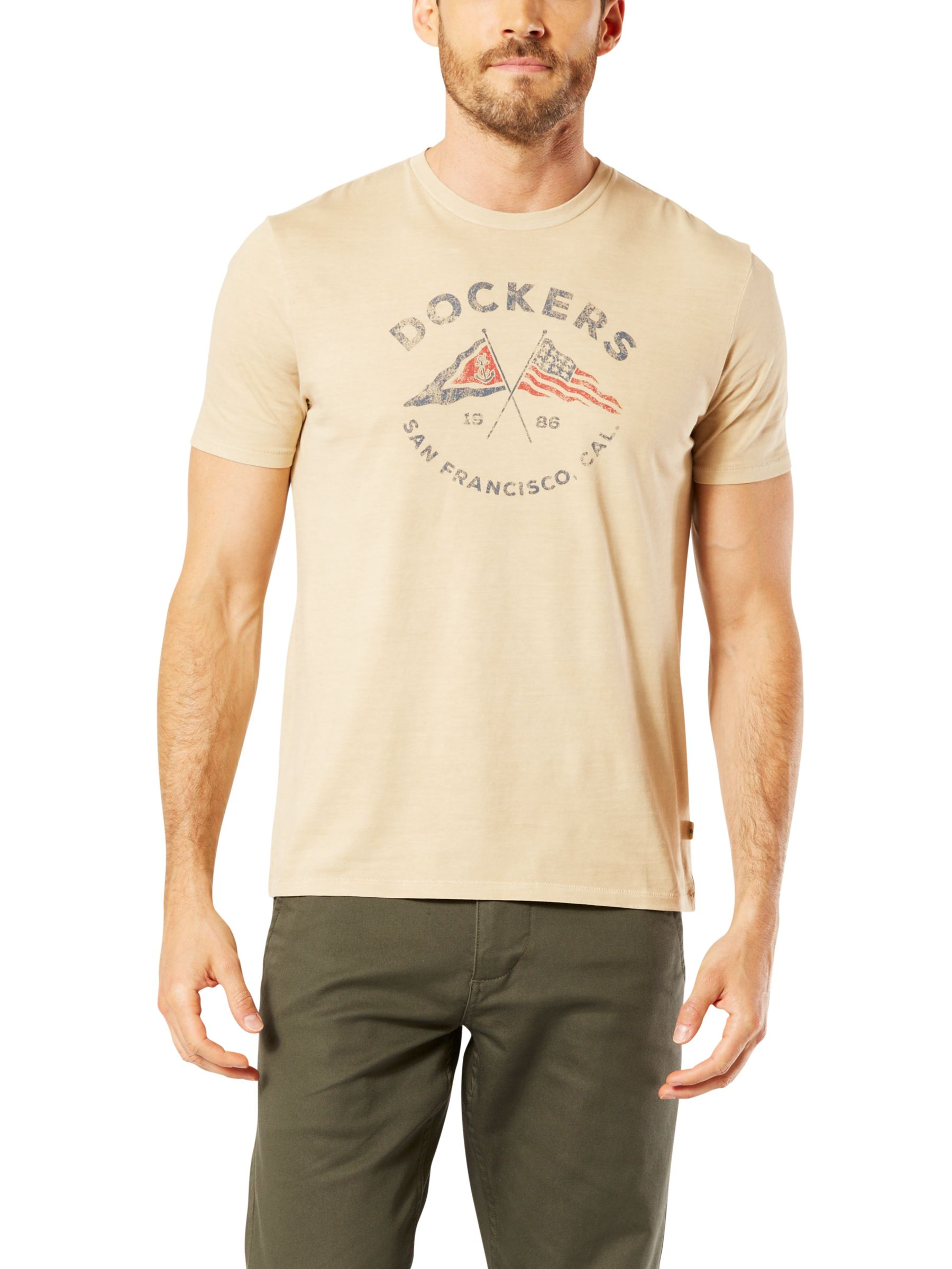 Dockers Dockers Graphic Flags Crew Neck T-Shirt, Crossed Flags Safari