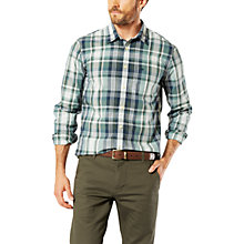 Buy Dockers Poplin Check Laundered Slim Fit Shirt, Green/Dark Blue Plaid Online at johnlewis.com