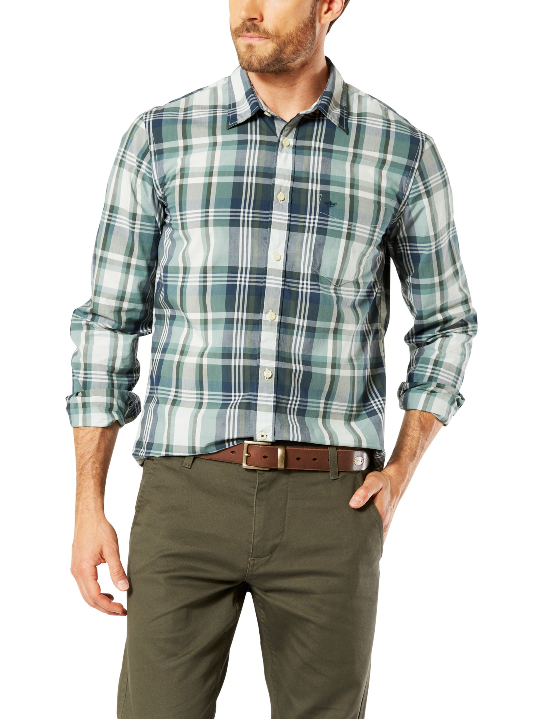 Dockers Dockers Poplin Check Laundered Slim Fit Shirt, Green/Dark Blue Plaid