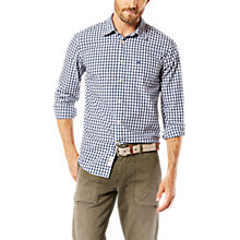 Buy Dockers Poplin Gingham Laundered Shirt, Dark Blue/White Online at johnlewis.com