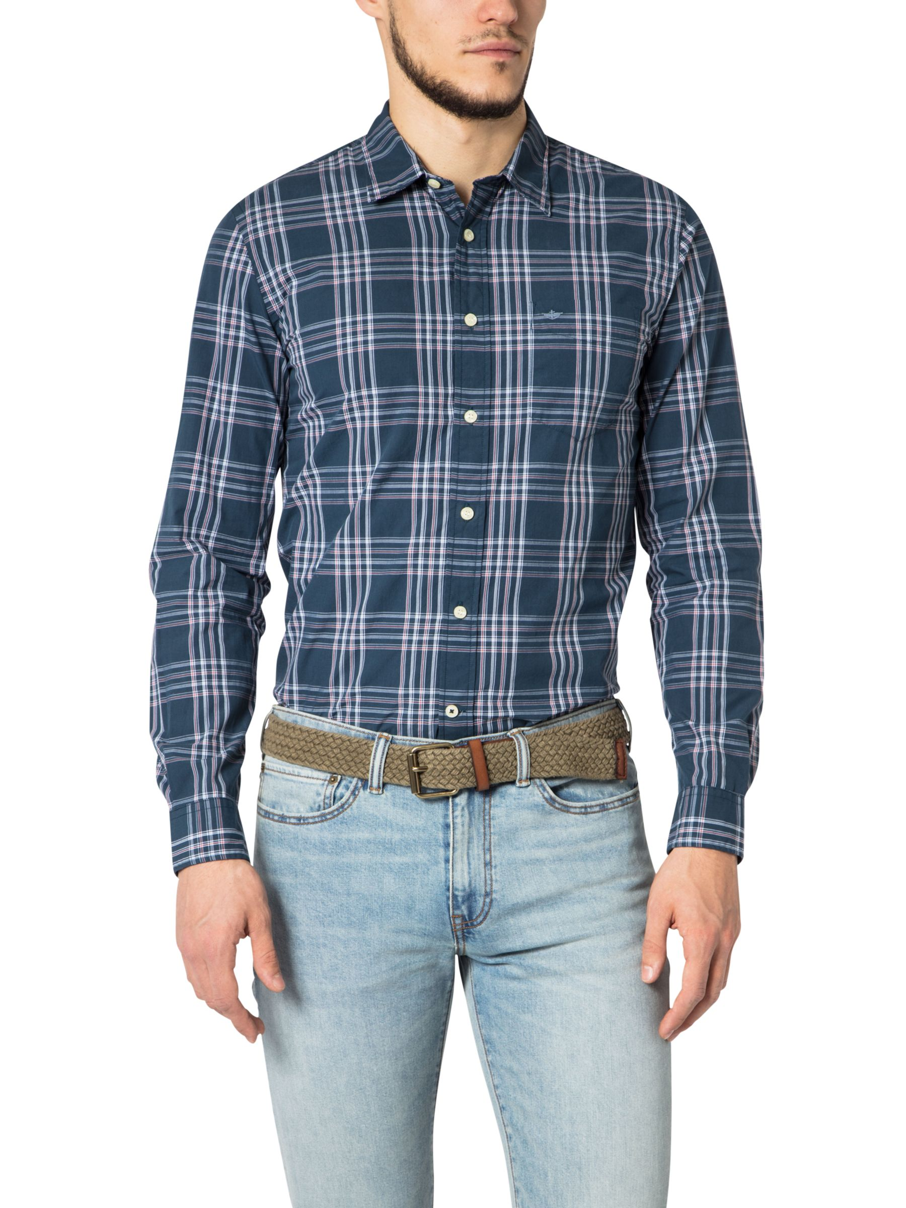 Dockers Dockers Poplin Check Laundered Shirt, Abbott Moonlit Ocean