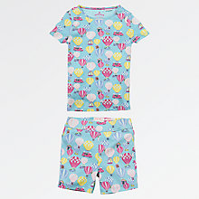 Buy Fat Face Children's Balloon Shortie Snug Pyjamas, Aqua Online at johnlewis.com