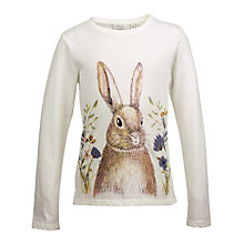 Buy Fat Face Girls' Long Sleeved Rabbit T-Shirt, Ecru Online at johnlewis.com