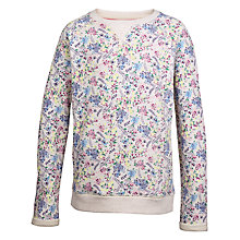 Buy Fat Face Girls' Floral Print Crew Neck Sweatshirt, Natural Online at johnlewis.com