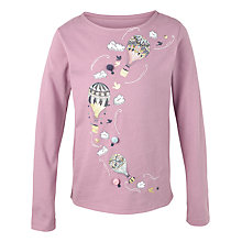 Buy Fat Face Girls' Long Sleeve Balloon T-Shirt, Lilac Online at johnlewis.com