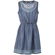 Buy Fat Face Girls' Embroidered Denim Dress, Blue Online at johnlewis.com