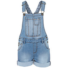 Buy Fat Face Girls' Shortie Denim Dungarees, Blue Online at johnlewis.com