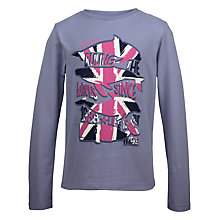 Buy Fat Face Girls' Long Sleeve Union Jack T-Shirt, Grey Online at johnlewis.com